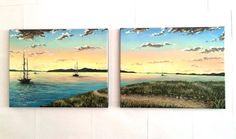 """""""Evening Hike"""" (12"""" by 14"""" X2 acrylic on canvas)"""