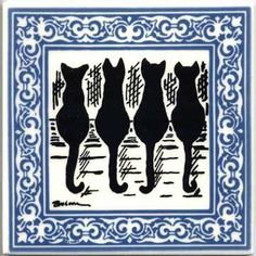 CAT TILES - CAT WALL PLAQUES - CAT TRIVETS WITH BLUE VICTORIAN BORDER: CA-4B by Besheer Art Tile by BESHEER ART TILE. $28.95. 3 or MORE TILES ORDERED FROM OUR AMAZON STORE RECEIVE FREE SHIPPING-CONTINENTAL USA. BEAUTIFULLY GIFT BOXED AND SIGNED BY THE ARTIST. HEAT RESISTANT TRIVET HAND PAINTED IN THE U.S.A.. DECORATIVE TILE WALL DECOR. HAND MADE IN NEW HAMPSHIRE USING RAISED PORCELAIN ENAMELS. Makers of fine, hand painted art tile for the U.S. Capitol Building, major ...