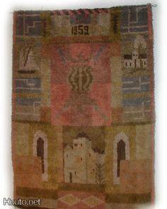 Varsinais-Suomen  Vaakuna Suun. Katri Var'en Rya Rug, Wool Rug, Wall Hangings, Folklore, Carpet, Blanket, Rugs, Painting, Farmhouse Rugs