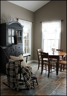 "Sherwin Williams ""Sticks and Stones"" brownish gray. This will be the color of Haydon's new room :) Love it!!!!"