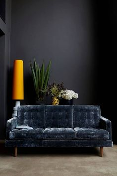 dark walls and blue sofa - perfect combo. A N T H R O P O L O G Y — The Abigail Ahern sofa in Hudson, Roosevelt Velvet Living Room Grey, Living Room Modern, Living Spaces, Grey Room, Living Rooms, Home Decoracion, Dark Walls, Grey Walls, Dark Interiors