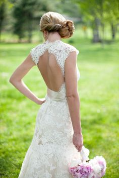 lacey-open-back-wedding-dress - Wedding Ideas, Wedding Trends, and Wedding Galleries
