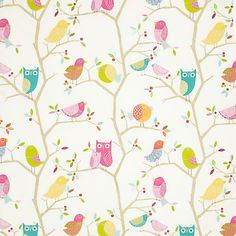Buy Harlequin What A Hoot Fabric, Pink online at JohnLewis.com - John Lewis