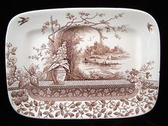 English Ironstone Victorian Transfer Printed Platter ~ RUSTIC 1886