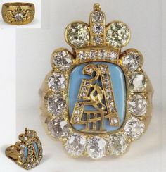 ROMANOV~ a ring from the Office of His Majesty Alexander III of Russia to be given for the courtiers and officers for their service Russian Jewelry, Royal Jewelry, Men's Jewelry, Antique Jewelry, Vintage Jewelry, Fine Jewelry, Royal Crowns, Tiaras And Crowns, Russian Art