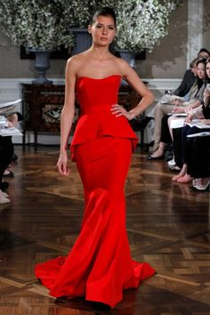 Red peplum evening gown from Romona Keveza's Fall 2012 Luxe Evening Collection