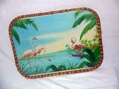 Vintage 60s flamingo serving tray / Mid century kitsch / tropical tiki Kawaii / home decor coffee table / wall art