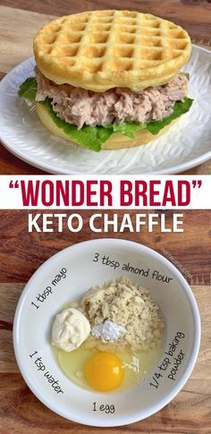 Keto Bread Chaffle This easy keto waffle recipe is made with simple ingredients: almond flour, mayo, egg and baking powder. An absolutely amazing mini waffle maker recipe that makes for excellent low carb sandwich bread! Low Carb Bread, Keto Bread, Low Carb Diet, Bread Diet, Keto Diet Plan, Best Keto Diet, Low Fat Diets, Bread Food, Low Carb Weight Loss