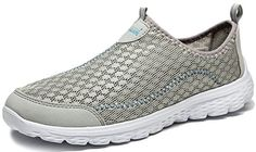 Anlarach Mens Breathable Mesh Running Sport Tennis Shoes Athletic Exercise Walking Anti-Slip Flat Casual Size 10 US Grey >>> For more information, visit image link.
