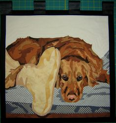 This is a 20 inch X 20 inch wall hanging quilt Animal portrait memory quilt. Sweet girl.