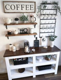 Outstanding DIY Coffee Bar Ideas for Your Cozy Home / Coffee Shop Awesome Coffee Bar Ideas that Will Makes All Coffee Lovers Falling in Love TAGS: Coffee bar ideas, Coffee station kitchen, DIY Coffee bar in kitchen, Farmhouse coffee bar, Keurig station Coffee Station Kitchen, Coffee Bars In Kitchen, Coffee Bar Home, Home Coffee Stations, Coffee Shop, Coffee Cozy, Coffee Kitchen Decor, Coffee Bar Station, Coffee Maker