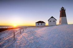 Point Judith Lighthouse in Narragansett Bay, Rhode Island