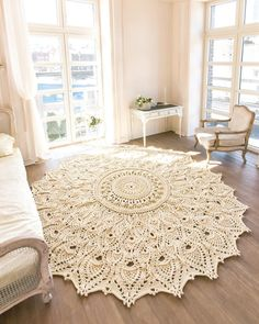 Big crochet rug milky, round area rug (118 in), doily rug, yarn lace mat, cottage nursery carpet, rustic floor decor by LaceMats LaceAsterMax, with volume elements It complements any interior, from the loft to the cottage. This crochet giant will not remain without attention of your visitors and