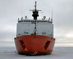 The USCGC Healy - polar icebreaker sitting on top of the ice during a mapping expedition in August of 2009.