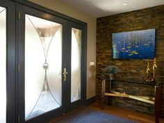 Wood and stone entryway