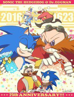 Sonic the hedgehog y Dr Eggman anniversary Game Sonic, Sonic 3, Sonic Fan Art, Sonic Mania, Sonic Adventure, Sonic The Hedgehog, Zootopia, Sonic 25th Anniversary, Doctor Eggman