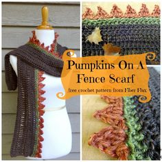 Free Pattern Pumpkins on a Fence Scarf and more Free Crochet Patterns from http://crochet.craftgossip.com/