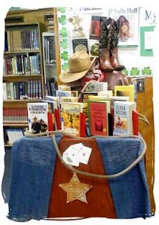 Library Displays: The Wild West.  Your students won't be able to resist diving into books when they are displayed like this!