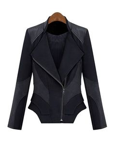Women Vintage Leather Zipper Patchwork Slim Jacket