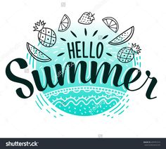 Hello Summer hand sketched logotype, badge typography icon. Lettering summer season sea doodle fruits for greeting card, invitation template. Retro, vintage lettering banner poster template background
