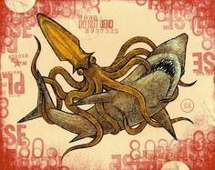 SQUID VERSUS SHARK small format battle print edition by MATTYCIPOV