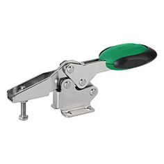 Sauterelle à levier horizontal avec verrouillage de sécurité, embase horizontale et broche de pression réglable, inox // Toggle clamps horizontal with safety interlock with flat foot and adjustable clamping spindle, stainless steel // REF 05900