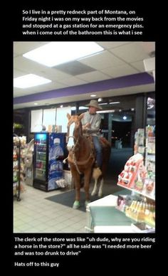 Too drunk to drive? Ride a horse! This would totally happen in Oklahoma