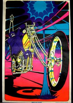 Hell's Fury motorcycle black light poster replica magnet - new! Japanese Punk, Photography Movies, Black Light Posters, Pure Fun, Kunst Poster, Hippie Art, Bike Art, Book Images, Light Art