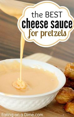 The Best Cheese Sauce for pretzels.  Making soft pretzels? Make this easy Cheese Sauce for Pretzels - it is perfect for dipping. No more stringy cheese sauce. So easy!  Find out how to make it here.