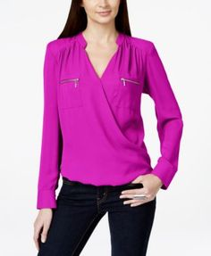 INC International Concepts Petite Zip-Pocket Surplice Blouse, Only at Macy's