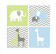 Elephants and Giraffes Chevron Canvas Children's by FieldandFlower  #nursery #jungletheme #kidsrooms #wallart #elephants #giraffes #animaltheme