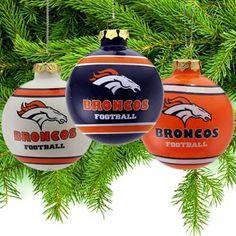 Denver Broncos Three-Pack Glass Ball Ornament Set