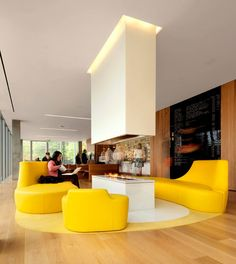Hospitality design. Possible fire pit. Love the yellow seating.