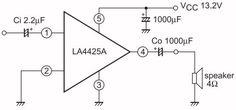 LA4425A, 5 W audio vermogensversterker. De LA4425A van ON Semiconductor is een audio vermogensversterker die een maximaal vermogen van 7,5 W kan leveren in een luidspreker van 4 O. Het IC wordt gevoed uit een spanning van maximaal 18 V. Het unieke aan dit IC is dat er geen externe onderdelen noodzakelijk zijn, behalve dan twee koppelelco's aan in- en uitgang.
