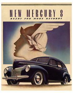 Art Deco Poster/Car/New Mercury 8/1940 Ford Mercury-8…