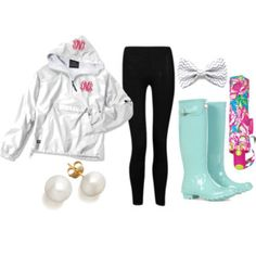 by the-southern-prep on Polyvore. Rainy day oufit. :) with the exception of the bow. I stopped wearing those when I was five.