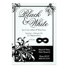 Sparkling Stars Black and White Party Invitation Bachelorette