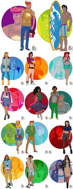 Disney Characters Princesses College Students Illustrations Ruben disney pixar hercules prince eric cinderella aladdin ariel the little mermaid belle beauty and the beast esmerelda hunchback of notre dame peter pan tinker bell mulan alice in wonderland tarzan treasure planet pocahontas brother bear Kenai treasure planet jim hawkins