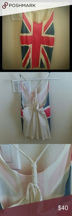 Union Jack racerback tank top Brand unknown. Brand new. Never been worn. N W/O T. Very cute! Tops Tank Tops