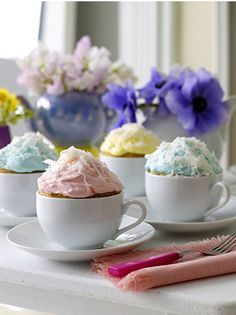 "Wedding reception or bridal shower desserts - ""cup"" cakes in vintage tea cups in a palette pastel colors - blue, pink and yellow. Fun and creative."