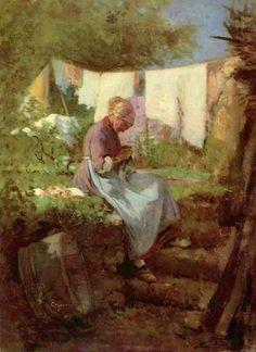 Old Woman Weaving - Nicolae Grigorescu Green Initiatives, Pokemon Go, Beautiful Paintings, Artist Art, Old Women, Art Forms, Line Art, Sculptures, Art Gallery