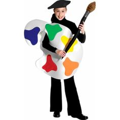 Are you looking for a fun, unique costume for your child? This artist palette costume is just the look you need! - Made of felt - Palette tunic - Faux paint brush is included - Black hat - Pants and s Unique Costumes, Funny Costumes, Costumes For Teens, Boy Costumes, Carnival Costumes, Costume Ideas, Art Costume, Teacher Halloween Costumes, Halloween Kostüm