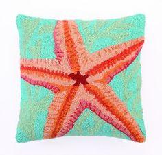 Teal and Orange Starfish Wool Hooked Coastal Pillow