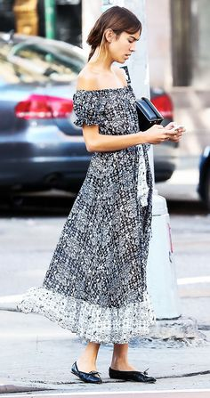 An Alexa Chung Outfit for Every Occasion. Going for Sunday brunch? Try an off-the-shoulder midi dress with ballet flats. via @WhoWhatWear