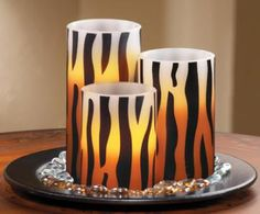 #98484 LED Zebra Print Flameless Candles - Set of 3 by sensationaltreasures