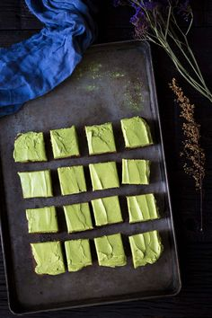 Bittersweet Brownies with Matcha Frosting - Savory Simple