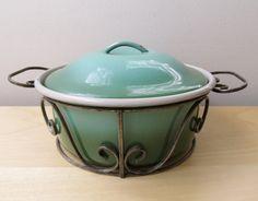 vintage teal forest green enamel casserole wrought by ionesAttic, $28.00