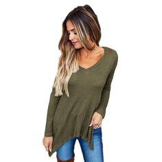 New Arrival Women T-Shirt Long Sleeve Sexy V-neck Irregular casual t-shirt female Tops Shirt #LSN