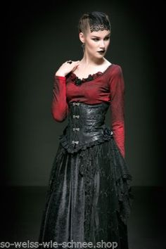 Punk Rave Bluse Gothic Korsett   Brosche Steampunk Victorian Corset Pin Up 49725caa7