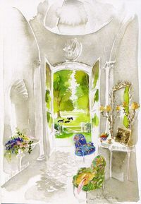 portrait-de-maison-en-normandie-pays-dauge-interieur-de-maison-aquarelle-michel-charrier-architecture-vue-interieur-de-maison-Interieur-maison-scene-maison-world-of-interior-interior-watercolor